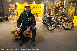 """Mike """"Otto"""" Deutsch at the Motor Bike Expo. Verona, Italy. January 24, 2016.  Photography ©2016 Michael Lichter."""