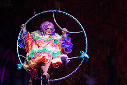 """© Licensed to London News Pictures. 08/12/2011. London, England. Dick Whittington panto starring Dame Edna Everage (Barry Humphries) as the """"Saviour of London"""" opens at the New Wimbledon Theatre, London. The show, written and directed by Eric Potts is scheduled to run to 15 January 2012. Photo credit: Bettina Strenske/LNP"""