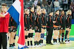 17-12-2014 CRO: EHF EK Nederland - Frankrijk, Zagreb<br /> Players of Netherlands before handball match between Netherlands and France at 11th EHF European Women's Handball Championship Hungary-Croatia 2014<br /> <br /> *** USE NETHERLANDS ONLY ***