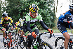 Sheyla Gutierrez approaches the GPM - Le Samyn des Dames 2016, a 113km road race from Quaregnon to Dour, on March 2, 2016 in Hainaut, Belgium.