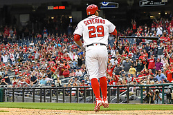 May 6, 2018 - Washington, DC, U.S. - WASHINGTON, DC - MAY 06:  Washington Nationals catcher Pedro Severino (29) tosses his bat after drawing a walk with the bases loaded in the ninth inning to tie the game between the Philadelphia Phillies and the Washington Nationals on May 6, 2018, at Nationals Park, in Washington D.C.  The Washington Nationals defeated the Philadelphia Phillies, 5-4.  (Photo by Mark Goldman/Icon Sportswire) (Credit Image: © Mark Goldman/Icon SMI via ZUMA Press)