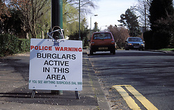 Police warning burglars active in this area sign; UK