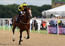 Haddaf ridden by Martin Harley wins the Betfred 'Watch Sky Sports In Our Shops' EBF Novice Stakes during the Betfred Northumberland Plate Day at Newcastle Racecourse.