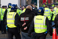 © under license to London News Pictures. 11/12/2010. Continuing their protests in towns and cities across the UK, the English Defence League protest against militant Islam in Peterborough. This EDL supporter was arrested