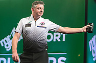 Justin Pipe after his victory over Daryl Gurney during the PDC Darts Players Championship at  at Butlins Minehead, Minehead, United Kingdom on 26 November 2017. Photo by Shane Healey.