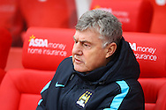Manchester City Assistant Manager Brian Kidd looks on prior to kick off. Barclays Premier League match, Liverpool v Swansea City at the Anfield stadium in Liverpool, Merseyside on Sunday 29th November 2015.<br /> pic by Chris Stading, Andrew Orchard sports photography.