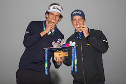 The winners of the Mens Final, Spain represented by Pedro Oriol and Scott Fernandez hold the trophy aloft after their victory during day eleven of the 2018 European Championships at Gleneagles PGA Centenary Course. PRESS ASSOCIATION Photo. Picture date: Sunday August 12, 2018. See PA story GOLF European. Photo credit should read: Kenny Smith/PA Wire. RESTRICTIONS: Editorial use only, no commercial use without prior permission