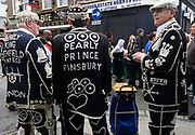 East London June 09 . Brick Lane. Pearly Kings - once a month they come in their traditional costumes to collect for charity