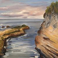 Montaña de Oro, Spooner's Cove. Plein air oil sketch, 9 x 12.
