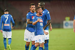 August 10, 2017 - Naples, Naples, Italy - Dries Mertens of SSC Napoli celebrates after scoring during the Pre-season Frendly match between SSC Napoli and RCD Espanyol at Stadio San Paolo Naples Italy on 10 August 2017. (Credit Image: © Franco Romano/NurPhoto via ZUMA Press)