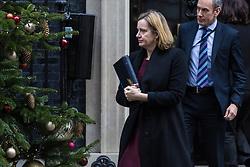London, December 19 2017. Home Secretary Amber Rudd leaves 10 Downing Street following the last cabinet meeting before the Christmas break. © Paul Davey