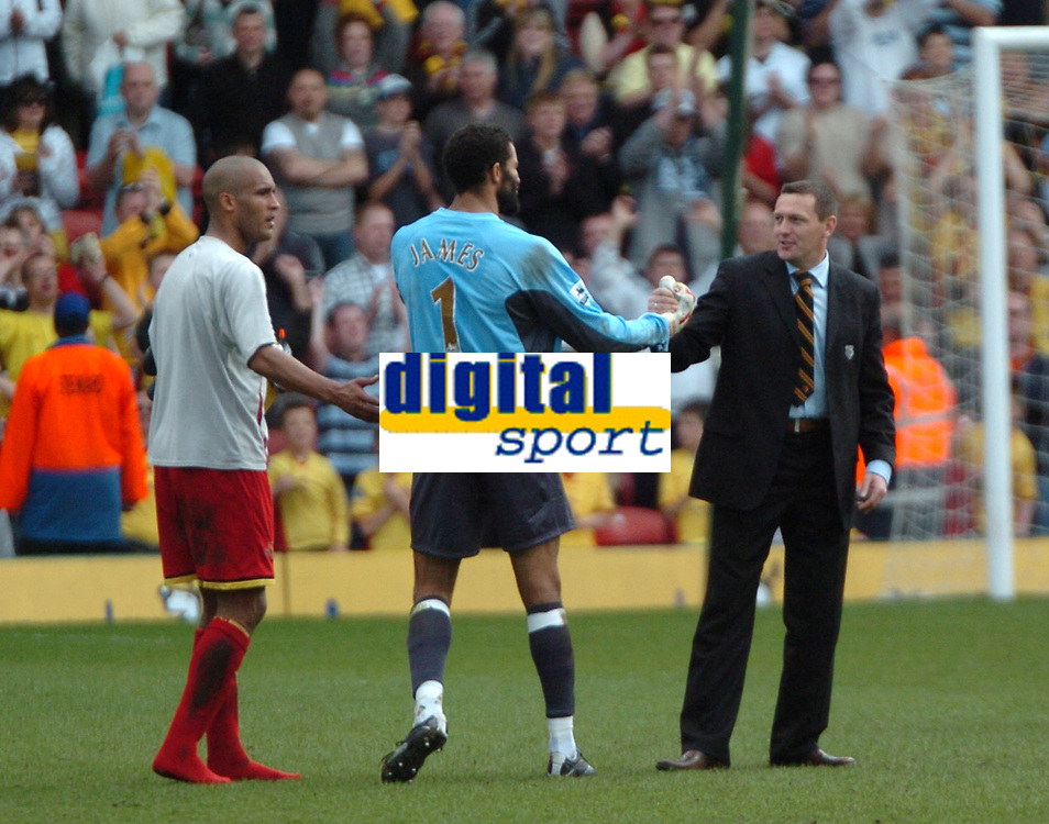 Photo: Tony Oudot.<br />Watford v Portsmouth. The Barclays Premiership. 09/04/2007.<br />Watford manager Aidy Boothroyd invites David James of Portsmouth to finish his career at Watford at the end of the game