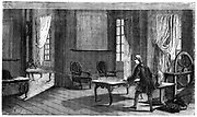 George Louis Lesage (1724-1803), Swiss scientist, experimenting with the first electric telegraph, Geneva, 1774. From Louis Figuier 'Les Grandes Inventions', Paris, 1876
