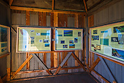 Interpretive displays in the lookout at Prisoners Harbor, Santa Cruz Island, Channel Islands National Park, California USA