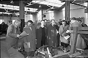 21/02/1963.02/21/1963.21 February 1963.Teachers tour Bord na Mona workshops. Vocational school teachers, whose past pupils include Bord na Mona apprntices, were guests at three of the Board's workshops., to study the organisation of the workshops and watch apprntices on the job.