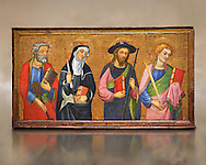 Painted Gothic panels from the Altarpiece of the Virgin of the Angels.<br /> From Left - San Peter, Santa Clara, Saint James the Greater, St. John the Evangelist. Tempera and gold leaf on wood, circa 1385 by by Pere Serra  from the Cathedral of Tortosa (Tarragona). Inv MNAC 3950, 3948, 3949. National Museum of Catalan Art (MNAC), Barcelona, Spain .<br /> <br /> If you prefer you can also buy from our ALAMY PHOTO LIBRARY  Collection visit : https://www.alamy.com/portfolio/paul-williams-funkystock/gothic-art-antiquities.html  Type -     MANAC    - into the LOWER SEARCH WITHIN GALLERY box. Refine search by adding background colour, place, museum etc<br /> <br /> Visit our MEDIEVAL GOTHIC ART PHOTO COLLECTIONS for more   photos  to download or buy as prints https://funkystock.photoshelter.com/gallery-collection/Medieval-Gothic-Art-Antiquities-Historic-Sites-Pictures-Images-of/C0000gZ8POl_DCqE
