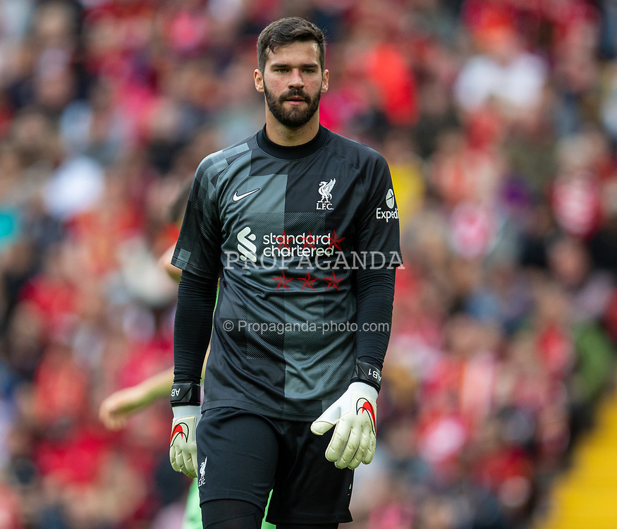 LIVERPOOL, ENGLAND - Sunday, August 8, 2021: Liverpool's goalkeeper Alisson Becker during a pre-season friendly match between Liverpool FC and Athletic Club de Bilbao at Anfield. The game ended in a 1-1 draw. (Pic by David Rawcliffe/Propaganda)