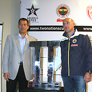 Anadolu Efes's head coach Ufuk SARICA and Fenerbahce's head coach Neven Spahija (R) seen during their Two Nations Cup Press Conference press conference at Anadolu Efes sports hall in Istanbul Turkey on Friday 30 September 2011. Photo by TURKPIX