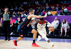Evan Fournier of France vs Dennis Schroder of Germany during basketball match between National Teams of Germany and France at Day 10 in Round of 16 of the FIBA EuroBasket 2017 at Sinan Erdem Dome in Istanbul, Turkey on September 9, 2017. Photo by Vid Ponikvar / Sportida