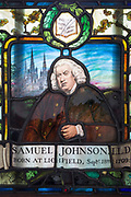 "A window detail of Dr Samuel Johnson in his museum house, on 17th September 2017, in the City of London, England. Samuel Johnson (1709–1784), often referred to as Dr. Johnson, was an English writer who made lasting contributions to English literature as a poet, essayist, moralist, literary critic, biographer, editor and lexicographer. Johnson was a devout Anglican and committed Tory, described by the Oxford Dictionary of National Biography as ""arguably the most distinguished man of letters in English history."""