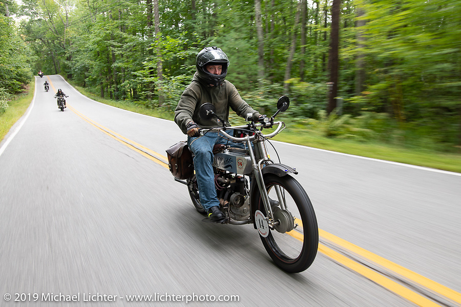 Loring Hill riding his 1916 Henderson 4-cylinder in the Motorcycle Cannonball coast to coast vintage run. Stage-1 (145-miles) from Portland, Maine to Keene, NH. Saturday September 8, 2018. Photography ©2018 Michael Lichter.