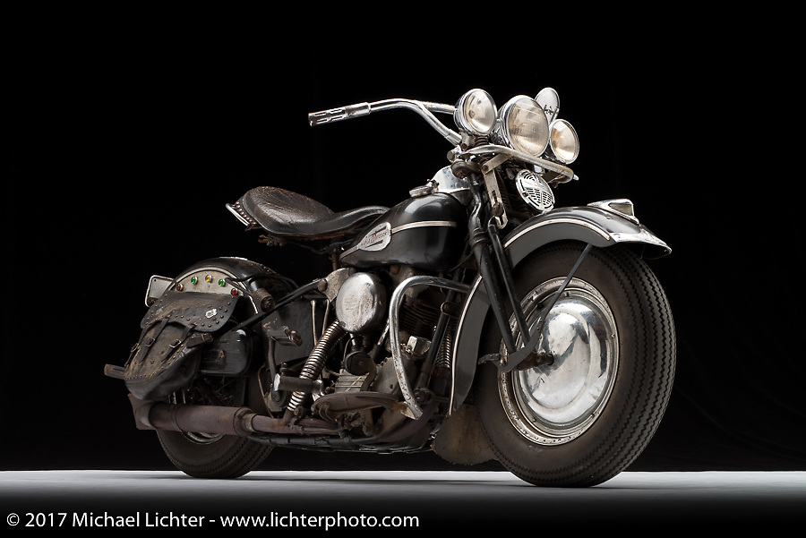 A classic 1940's period knucklehead rebuilt by Matt McManus of Carolina Classic Cycles in Indian Land, SC. Photographed by Michael Lichter in Sturgis, SD on July 30, 2017. ©2017 Michael Lichter.