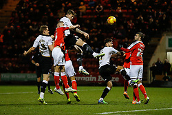 Aden Flint of Bristol City heads a late shot and chance to equalise the score as George Ray of Crewe Alexandra challenges - Photo mandatory by-line: Rogan Thomson/JMP - 07966 386802 - 20/12/2014 - SPORT - FOOTBALL - Crewe, England - Alexandra Stadium - Crewe Alexandra v Bristol City - Sky Bet League 1.
