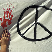 Peace rally, Los Angeles, following the September 11, 2001 terrorist attacks.