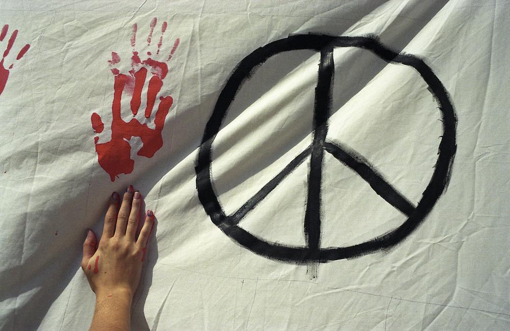 Peace rally, Los Angeles, following the September 11, 2001 terrorist attacks.
