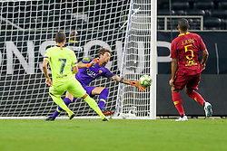 July 31, 2018 - Arlington, TX, U.S. - ARLINGTON, TX - JULY 31: AS Roma goalkeeper Antonio MIRANTE (83) makes a save on a shot by FC Barcelona forward Abel Ruiz (7) during the International Champions Cup between FC Barcelona and AS Roma on July 31, 2018 at AT&T Stadium in Arlington, TX.  (Photo by Andrew Dieb/Icon Sportswire) (Credit Image: © Andrew Dieb/Icon SMI via ZUMA Press)
