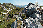 View on the Pyrenees from a ridge near Col du Pas de l'Ane, Haute-Garonne, Midi-Pyrenees, France.