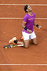 MADRID, May 15, 2017  Spain's Rafael Nadal celebrates victory after the men's final against Austria's Dominic Thiem at the Mutua Madrid Open tennis tournament in Madrid, Spain, May 14, 2017. Rafael Nadal won 2-0 and claimed the title. (Credit Image: © Eduardo Dieguez/Xinhua via ZUMA Wire)
