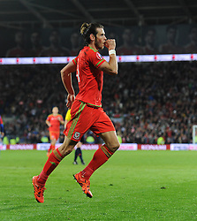 Gareth Bale of Wales celebrates his goal to make it 2-0 - Mandatory byline: Dougie Allward/JMP - 07966 386802 - 13/10/2015 - FOOTBALL - Cardiff City Stadium - Cardiff, Wales - Wales v Andorra - European Qualifier 2016 - Group B