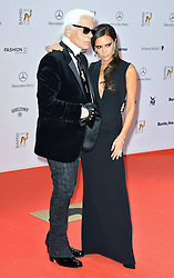Karl Lagerfeld with Victoria Beckham  at the Bambi Awards 2013 at Stage Theatre in Berlin, Germany, Thursday, 14th November 2013. Picture by  Schneider-Press / i-Images<br /> UK & USA ONLY