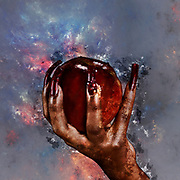 Digitally enhanced image of a hand holding a red apple with honey