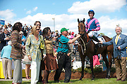 2  April, 2011:  Winner GOOD REQUEST and Paddy Young stand in the winners circle with connections after taking the Woodward Kirkover hurdle race.