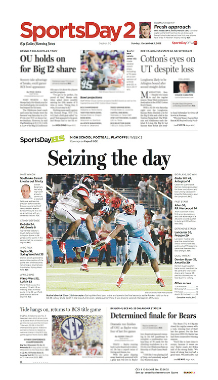 The Dallas Morning News -Sports Day 2, CC1 II, December 2, 2012.