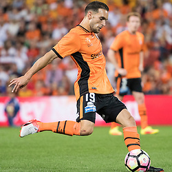 BRISBANE, AUSTRALIA - OCTOBER 7: Jack Hingert of the Roar kicks the ball during the round 1 Hyundai A-League match between the Brisbane Roar and Melbourne Victory at Suncorp Stadium on October 7, 2016 in Brisbane, Australia. (Photo by Patrick Kearney/Brisbane Roar)