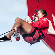 Leg 4, Melbourne to Hong Kong, day 16 on board MAPFRE, Sophie Ciszek setting up a nother sheet iun the MHO to gybe. Photo by Ugo Fonolla/Volvo Ocean Race. 16 January, 2018.