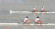 Chungju, South Korea.Women's Lightweight Double Sculls final. Silver medalist USA LW2X. Bow. Kristin HEDSTROM  and Kathleen BERTKO . Bronze Medalist. GERLW2X. bow Lena MUELLER and Anja NOSKE.  Rowing Championships, Tangeum Lake, International Regatta Course.  Saturday  31/08/2013 [Mandatory Credit. Peter Spurrier/Intersport Images]