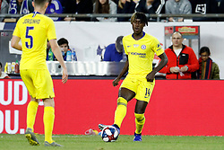 May 15, 2019 - Foxborough, MA, U.S. - FOXBOROUGH, MA - MAY 15: Chelsea FC midfielder Trevoh Chalobah (14) passes to Chelsea FC midfielder Jorginho (5) during the Final Whistle on Hate match between the New England Revolution and Chelsea Football Club on May 15, 2019, at Gillette Stadium in Foxborough, Massachusetts. (Photo by Fred Kfoury III/Icon Sportswire) (Credit Image: © Fred Kfoury Iii/Icon SMI via ZUMA Press)