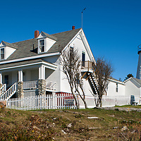 Built in 1835, on the west side of entrance to Muscongus Bay, was the first in Maine to be automated in 1934. Small house was the light keepers residence, now is the Fishermen's Museum at Pemaquid Point.