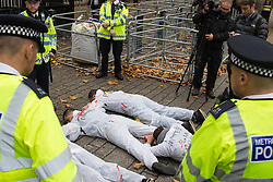 "Downing Street, London, November 5th 2015. British Prime Minister David Cameron welcomes Egyptian President Abdel Fatah al-Sisi to 10 Downing Street as demonstrations in support and counter-protests against his visit to the UK by a coalition of human rights groups take place in Whitehall. PICTURED: ""Dead"" human rights protester block the entrance to Downing Street. // Licencing Contact: paul@pauldaveycreative.co.uk Mobile 07966 016 296"