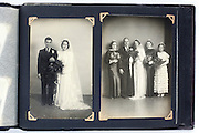 photo album page with vintage wedding studio images England