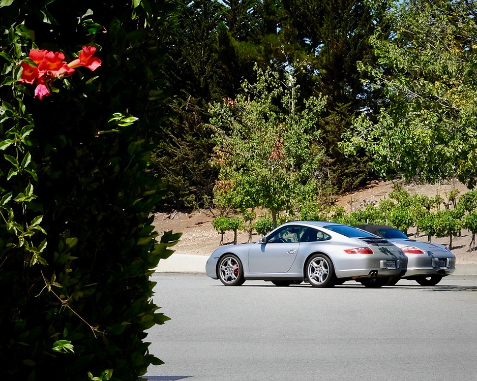 While in Carmel, California my brother and his wife joined us for a for a few days of driving.  Here, their Boxter and our Carrera 4S are parked at a winery in Carmel Valley.
