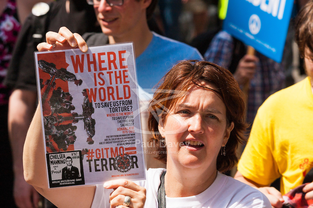 London, June 21st 2014. A woman protests on behald of Guantanamo Bay prisoners and Chelsea Manning's imprisonment.