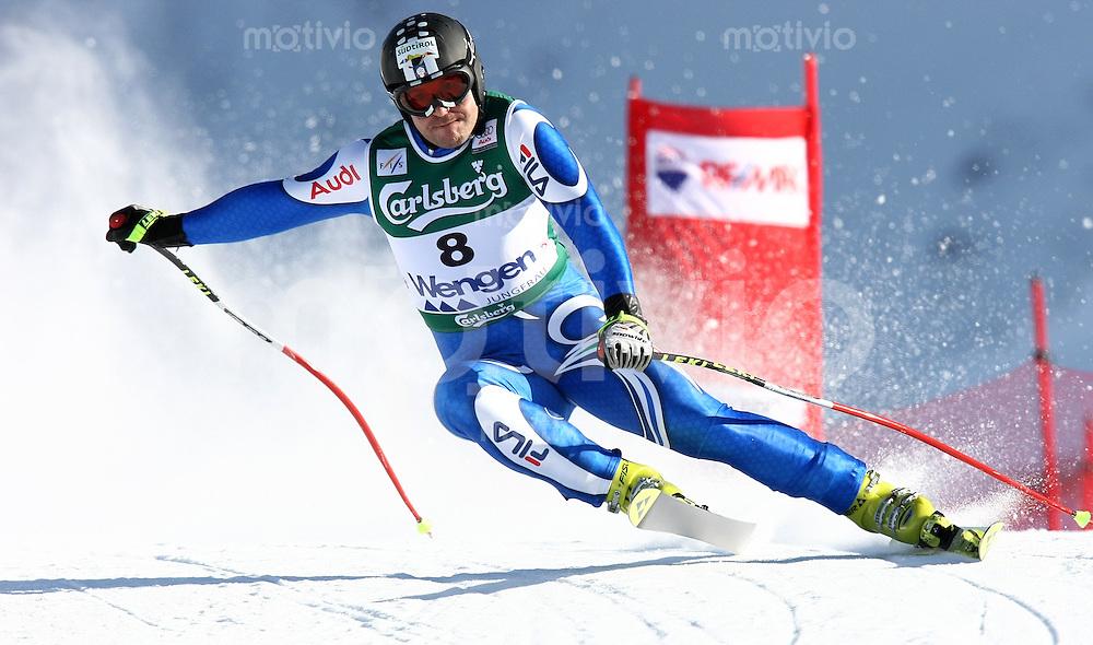 Ski Alpin;  Saison 2006/2007   10.01.2007 78. Weltcup Abfahrt Herren Kurt Sulzenbacher (ITA)  bei der Einfahrt zum Hundschopfsprung