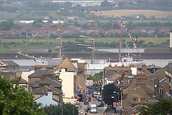 © Licensed to London News Pictures. 07/06/2016. The Mexican Navy's Sail Training Ship ARM Cuauhtemoc has arrived on the Thames for a port visit which will see her open to the public in West India Docks this weekend. Tall ship seen passing Gravesend town centre. Credit: Rob Powell/LNP