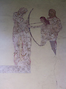 A4TR8D St Edmund death at Hoxne painted at Troston church Suffolk England