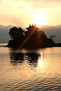 Lesser Putuo temple by sunset on Erhai lake in the area of Dali